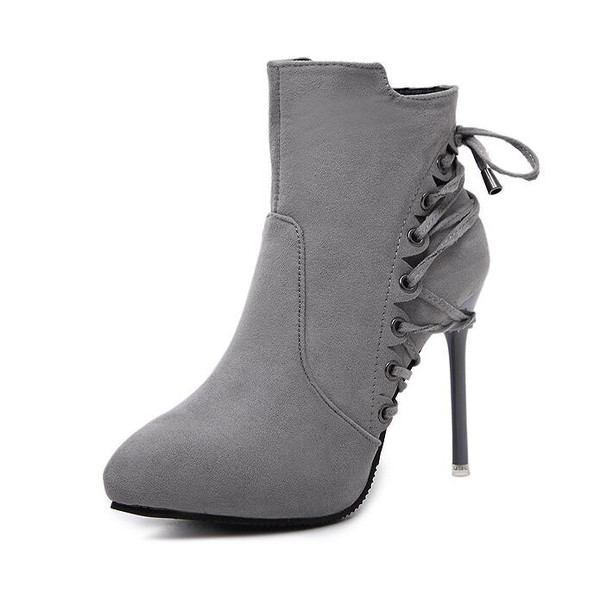 Winter Lace Up Suede Pointed Matching Ankle Boots