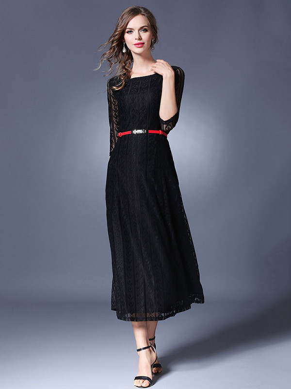 New Arrival Three Quarter Sleeve Fitted Lace Dress