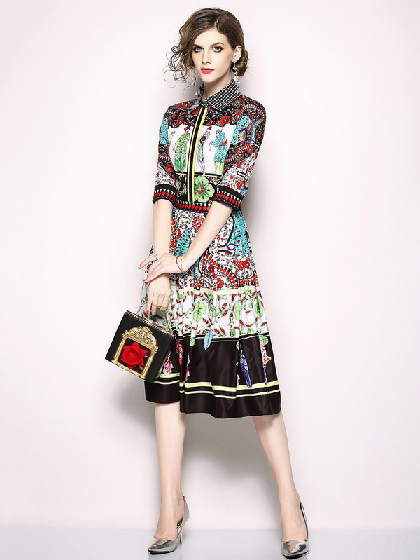 Vintage Polo Neck Printing Dresses