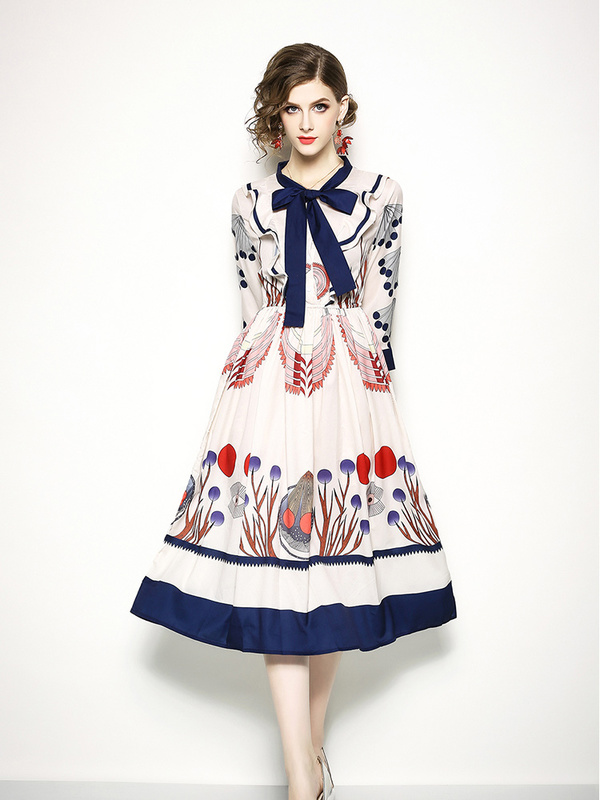 Euro Printing Ruffles Bow Contrast Color Dresses