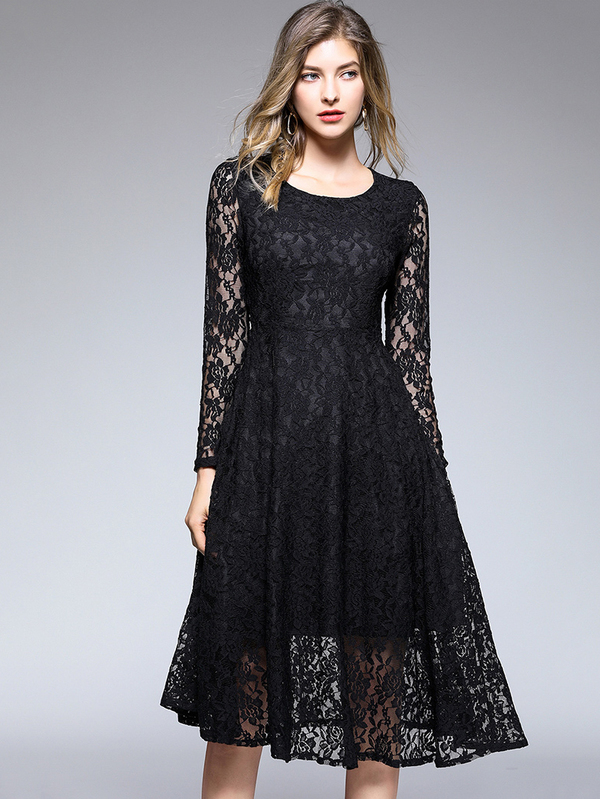 Elegant Solid Fitted Large Hem Lace Dress