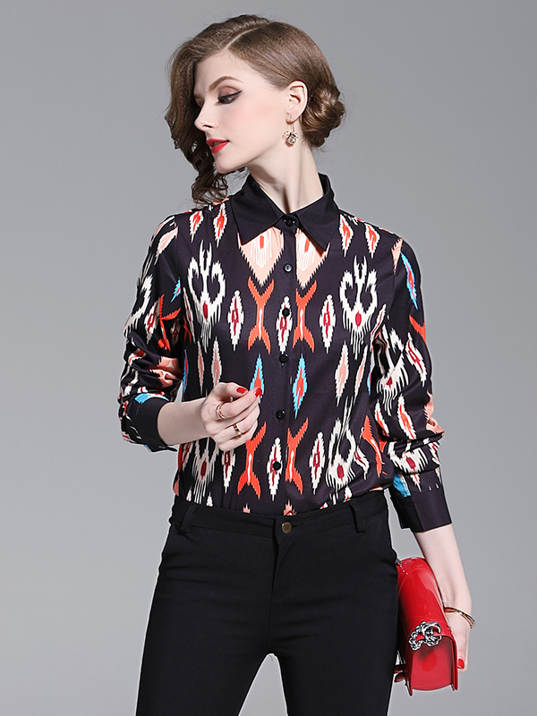 Turndown Neck Geometric Printed Ladies Shirts in Black - Selerit