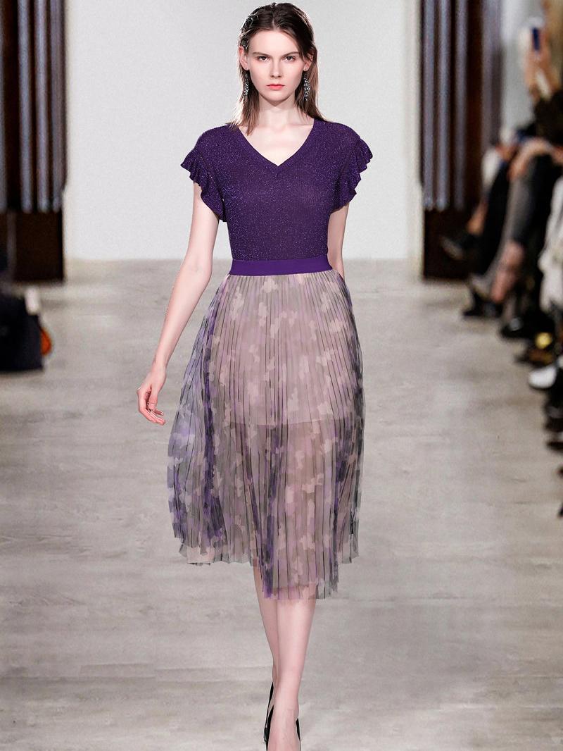 Ruffed Sleeve Blouse With Printed Gauze Skirt in Purple - Selerit